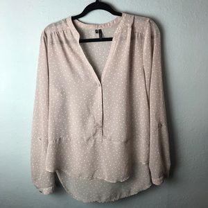 Maurice's polka dot sheer Henley blouse large